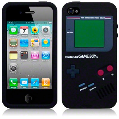 IPHONE 4 / IPHONE 4G GAME BOY STYLE CASE SILICONE PELLE / COPRI / SHELL - NERO