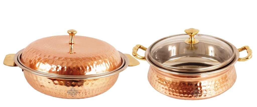 IndianArtVilla Handmade Steel Copper royal serving casserole with lid | 25 ounce | &1 Handi With lid | 27 ounce |