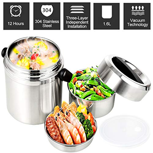 Vacuum Insulated Lunch Box Food Container Stainless Steel Thermal Insulated Lunch Bento Box Food Storage Stackable Bento Box for School Work Travel Picnic (Silver)