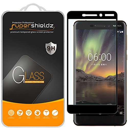 (2 Pack) Supershieldz for Nokia 6.1 (Nokia 6 2018) Tempered Glass Screen Protector, (Full Screen Coverage) Anti Scratch, Bubble Free (Black) (Screen Big Nokia)