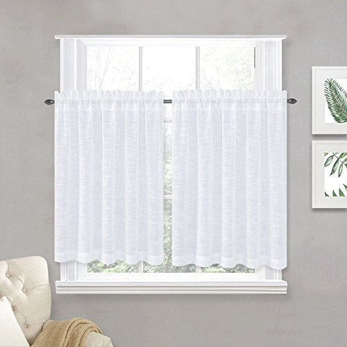 NICETOWN Linen Textured Translucent Sheer Curtains - White Half Window Valance Tiers Semitransparent Voile Sheer Panel Drapes for Kitchen/Cafe, 52