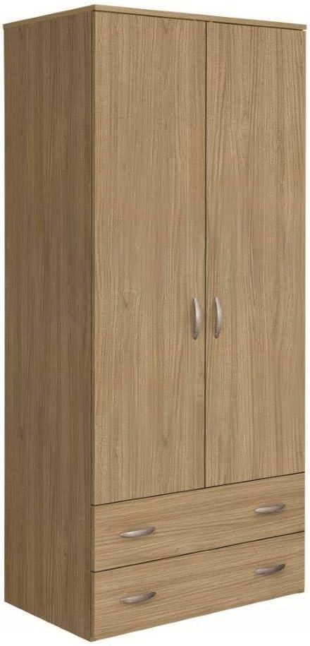Armario de 2 puertas y 2 cajones - Altura: 175 cm. Modelo: Oriana: Amazon.es: Hogar