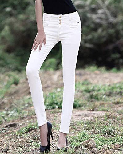 Vaqueros Color De Stretch Mujeres Con Elástica Y Bolsillos Ajustados Pecho Blanco Un Liso Cintura Pantalones Delanteros Para Solo dBwzqdv