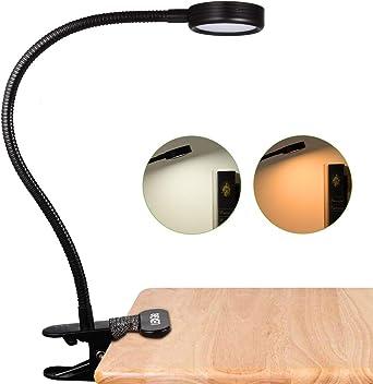 LEDGLE Lámpara de Lectura de Clip, Regulable Lámpara de Mesa con 2 ...