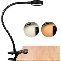 LEDGLE Lámpara de Lectura de Clip, Regulable Lámpara de Mesa con 2 Temperaturas de Color, 2 Niveles de Brillo, Base Antideslizante