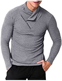 Men's Long Sleeve T-shirt Casual Collar Pullover Turtleneck Shirts Tops