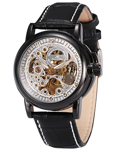 KS Men Black Leather Band Automatic Mechanical Skeleton Waterproof Sport Watch KS035