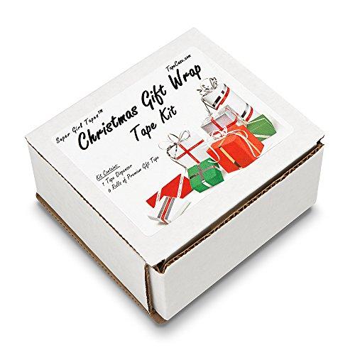 Foil Wraps Plain (TapeCase CGWT-1000 Red/Green/Blue/Silver/Gold Super Girl Christmas Gift Wrap Tape Kit, 1/2