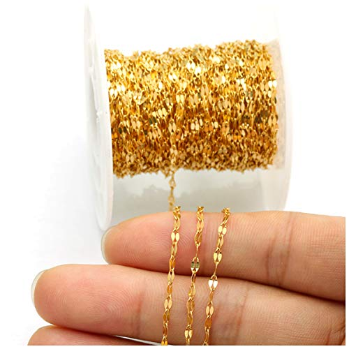 Tiparts 33 feet Gold Silver Flat Cable Jewelry Chains Stainless Steel Filled Link Chains for Necklace Bracelet Jewelry Makings
