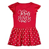 Mashed Clothing Baby-Girls - Jesus Loves Me Easter - Baby Infant Dress (Red Dots, 6 Months)