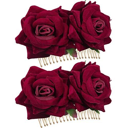 Women Hair Clip Pin Wedding Hair Slide Clip Flamenco Dancer Hair Styling Clip Hair Accessories (2 Pcs of Burgundy)