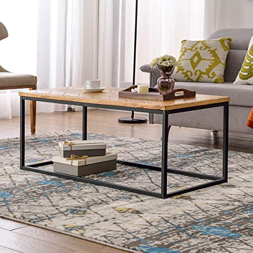 Knocbel Modern Coffee Table Wood Tea Table Chevron Pattern for Living Room (Metal Frame) ()