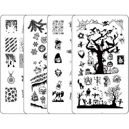 Halloween Chic Nails (Nail Stamping Kit Halloween - Ejiubas Nail Stamping Plates 2PCS Double-Sided Christmas Stamping Plate for Nails Nail Art Plates)