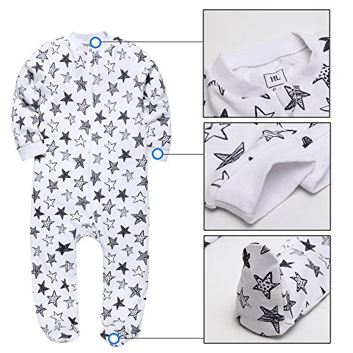 Footed Pajama Baby Boys Girls Sleeper Long sleeve 100% cotton Zip Front Neutral , Star , 12-18(Month)