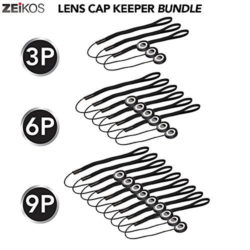 (Zeikos 3 Pack Lens Cap Leash Lens Cap Keeper Holder Prevent Lens Cap Lost for DSLR SLR Camera Canon, Nikon, Sony, Panasonic, Fujifilm Camera and More)