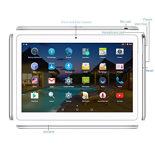 Android Tablet 10 Inch with Sim Card Slots - YELLYOUTH 10.1'' 4GB RAM 64GB ROM Octa Core 3G Unlocked GSM Phone Tablet PC with Wifi Bluetooth GPS - Silver by YELLYOUTH (Image #4)