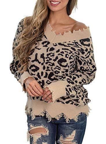 TECREW Leopard Print Ripped Sweater V Neck Off Shoulder Knit Pullover Jumper Top Purple