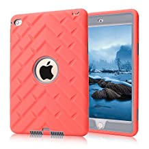iPad Mini 4 Cases , MS Jumpper 3in1 Shockproof Full Body Protective Hybrid Case [Tire Series] Hard Cover PC And Silicone High Impact Defender Cover For iPad Mini4 (Rose Grey)