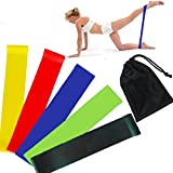 Hilinker Resistance Loop Exercise 5 Bands with Carry Bag-- Fitness Exercise Workout Bands Yoga Stretch Bands (5 Colors)