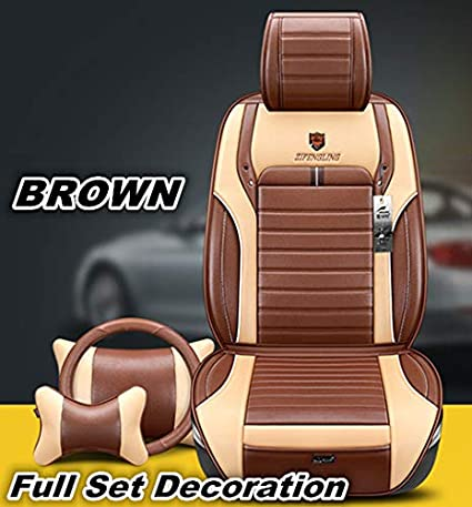 GRACE ROAD 5 Seats PU Leather Car Seat Cover Universal Leather Car Seat Cushion Full Set Car Seat Mat Waterproof Ventilate Car Seat Protector Black
