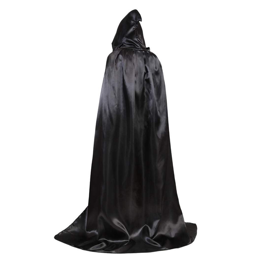 Full Length Unisex Tunic Hooded Robe Cloak Adult Halloween Costume Cosplay Capes Black-XL