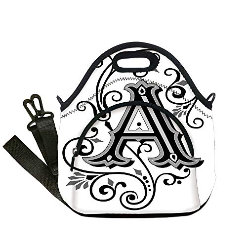 (Insulated Lunch Bag,Neoprene Lunch Tote Bags,Letter A,Ornamental Pattern Uppercase A First Letter of the Alphabet Abstract Design,Black Grey White,for Adults and)