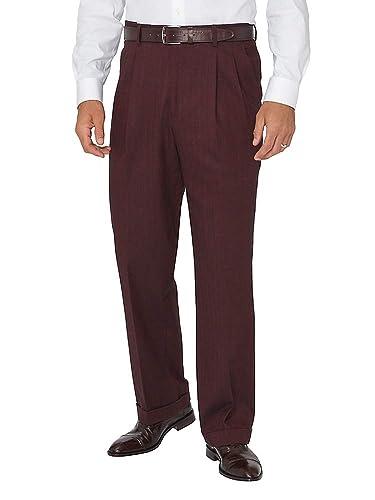 Men's Vintage Christmas Gift Ideas Paul Fredrick Mens Ultimate Comfort Cotton Herringbone Pleated Pants $59.98 AT vintagedancer.com