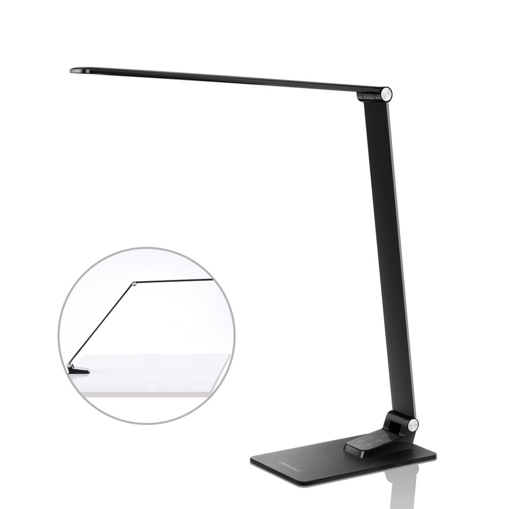 LED Desk Lamp with USB Charging Port, Dimmable Ultrathin Metal Table Lamp with Clamp, 2 in 1 Adjustable Reading Light with Touch Control & Timer for Bedroom/Office/Living room/Study, Back to School
