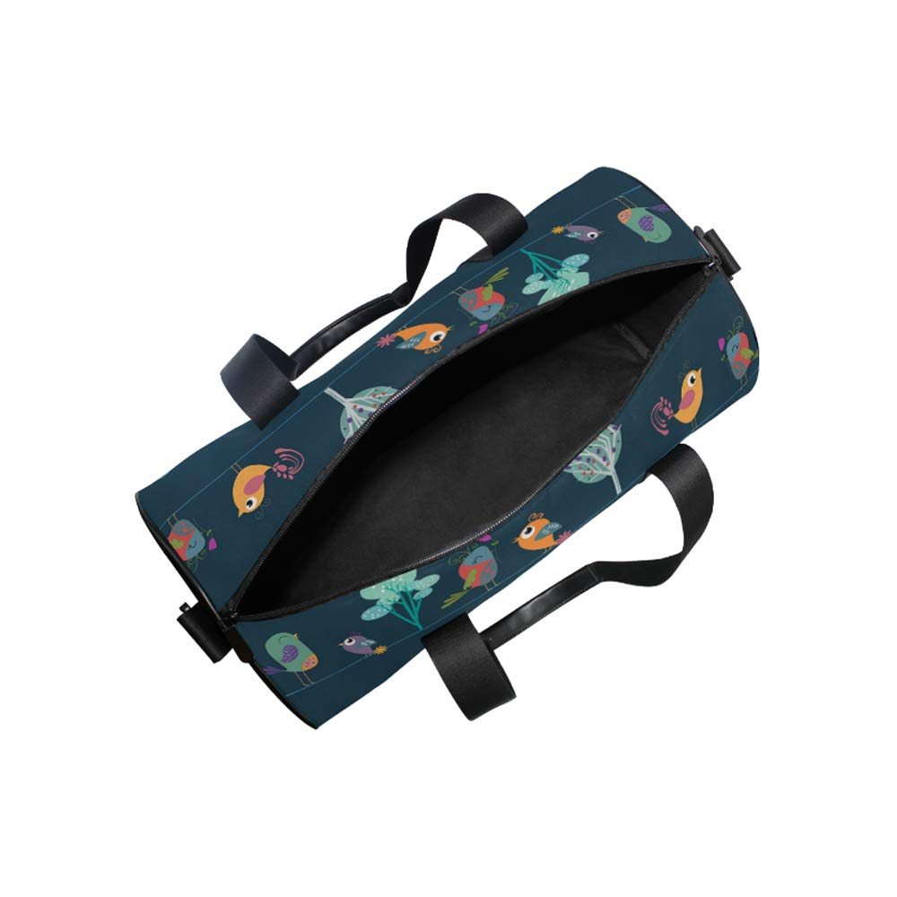 17 Blank Sports Duffle Bag Mesterious Plants Birds Gym Bag Travel Duffel with Adjustable Strap