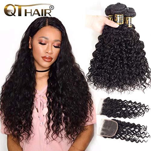 QTHAIR 10A Brazilian Hair Weave Bundles Wave Wave with Closure (18