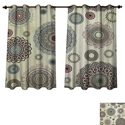 RuppertTextile Beige Blackout Thermal Curtain Panel Vintage Ornate Round Motifs Forms Oriental Nostalgic Artwork Old World in Retro Style Patterned Drape for Glass Door Multicolor W63 x L63 inch (Orlando Furniture Old World)