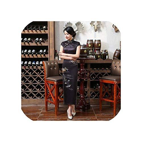 Hengheng-shop Navy Blue Dresses Banquet Evening Qipao