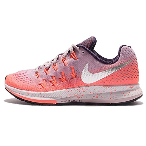 NIKE Women's W Air Zoom Pegasus 33 Shield, Plum Fog/Metallic Silver-BRIGH, 5.5 US