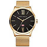 BOFUTE Men's Simple Design Luminous Pointer Business Quartz Wristwatch with Gold Stainless Steel Mesh Band(Gold)
