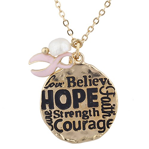 Lux Accessories Goldtone Breast Cancer Awareness Inspirational Pendant Necklace
