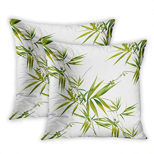 Meofo Set of 2 Throw Pillow Cover Watercolor Illustration of Bamboo Leaves Seamless Pattern On White Background Decorative Polyester Soft Pillowcase Sofa Cushion Bedroom Car Square 18 x 18 Inch