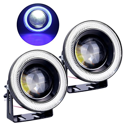 FISHBERG 2PCS Waterproof Projector LED Fog Light With Lens Halo Angel Eyes Rings COB 30W Xenon White Blue 12V SUV ATV Off Road Fog Lamp (3.0