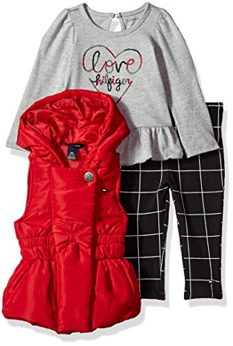 Tommy Hilfiger Baby Girls' 3 Pc Jacket Set, Red/Print/Grey Denim, 18M