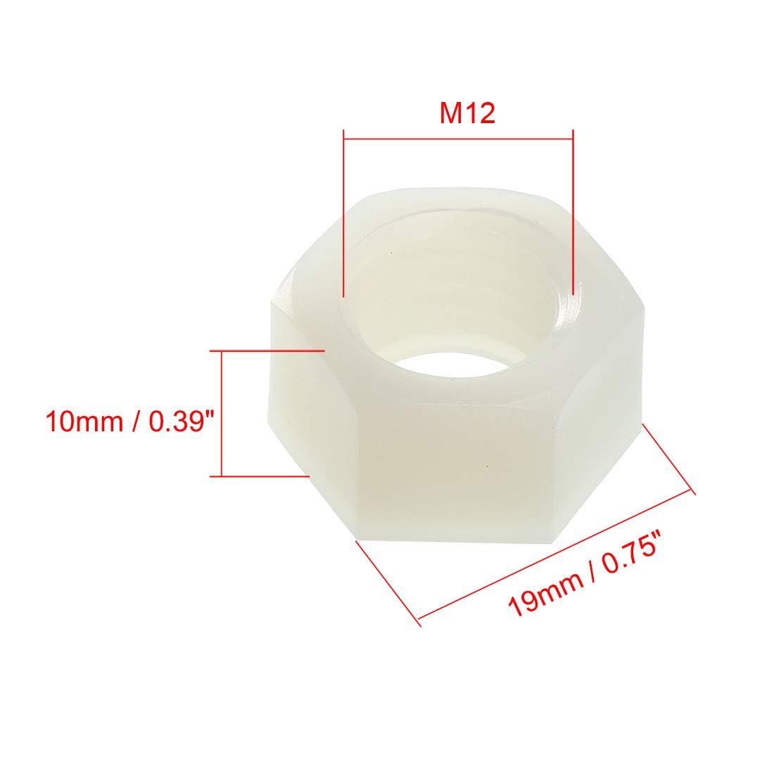 uxcell Hex Nut Metric Nylon M8x1.25mm Thread Hexagon Nuts Black 25pcs