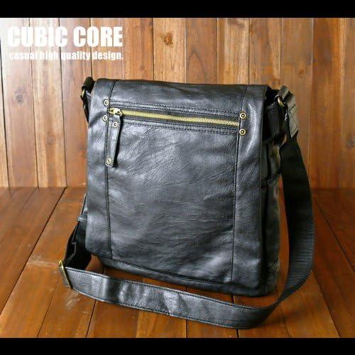 ◆【CORE3】型押しソフト合皮レザーショルダーバッグ【ブラック】