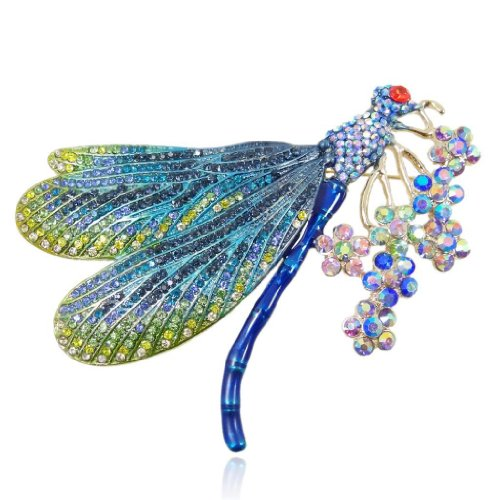 (EVER FAITH Women's Austrian Crystal Enamel Colorful Bouquet Insect Dragonfly Brooch Blue Gold-Tone)