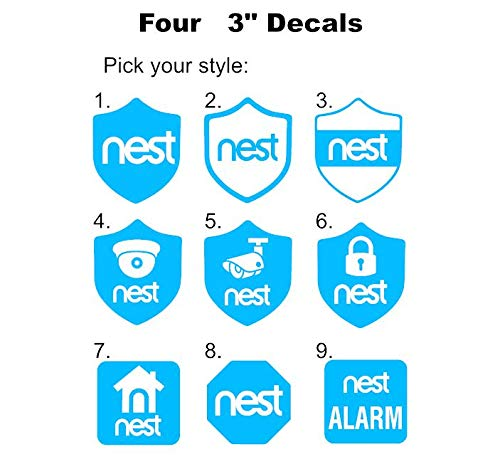 MULTI-COLOR Multi-color Nest Alarm Camera Security decal for windows doors home doorbell or yard like a sticker Cam1 4 pcs 3