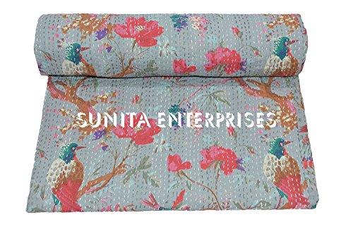 Sunita Enterprises King Size Cotton Handmade Grey Bird of Paradise Kantha Quilt Reversible Blanket Bedspread, Indian Sari Embroidered AC Rallies Rali Kantha Throw Bohemian Bedding Size 90x108 ()
