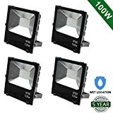 Hykolity 100W LED Flood Light Outdoor Security Light Weatherproof Parking Lot Warehouse Perimeter Lighting Fixture [400W Equivalent] High Power 10150lm 5000K Residential/Commercial Use-Pack of 4
