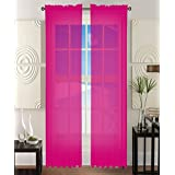"""2 Piece Solid Hot Pink Sheer Window Curtains/drape/panels/treatment 60\""""w X 84\""""1"""