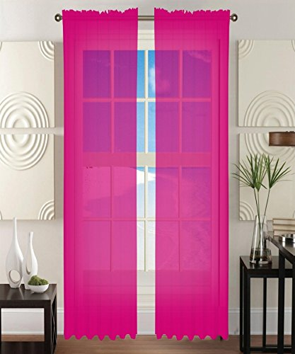 2 Piece Solid Hot Pink Sheer Window Curtains/drape/panels/treatment 60'w X 84'1