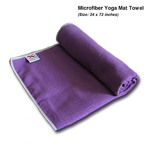 YogaAddict Yoga Mat Towel & Hand Towel Combo Set 100% Microfiber, Non Slip, Super Absorbent, Ideal as Bikram, Ashtanga, Hot Yoga Mat Towel, For Any Type of Yoga Styles, Fitness, Pilates, Lavender