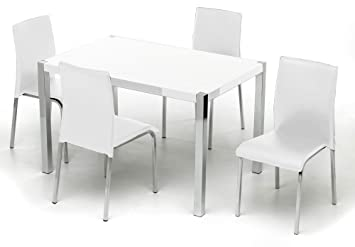 f0d8794d62 Charisma High Gloss Rectangular 4 Seater Dining Set in White - Color: White