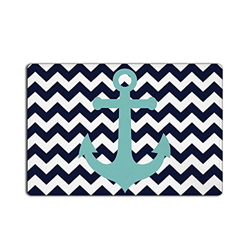 (EZON-CH Modern Non Slip Nautical Anchor On Navy Blue Chevron Home Bathroom Bath Shower Bedroom Mat Toilet Floor Door Mat Rug Carpet Pad Doormat(24X32IN))