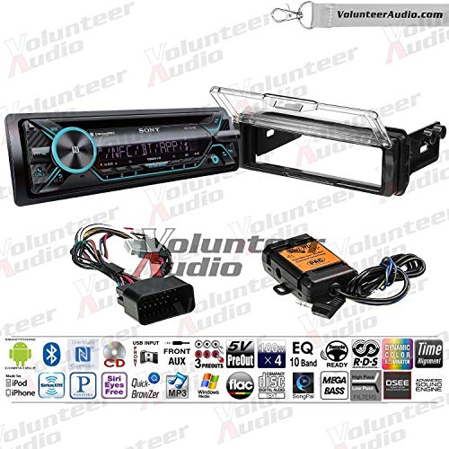 Sony MEX-XB120BT Single Din Radio Install Kit With Sirius XM Ready, CD Player, 100W Built-In Amp Fits 1998-2013 Harley Davidson Electra Glide, Road Glide, Street Glide, Tour Glide